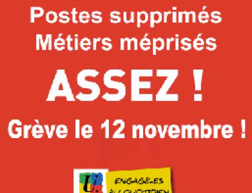 Grève intersyndicale nationale le lundi 12 novembre