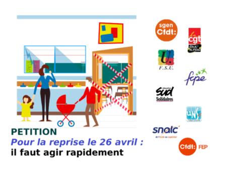 """signez la pétition intersyndicale """"Reprise le 26 avril : agir rapidement !"""""""